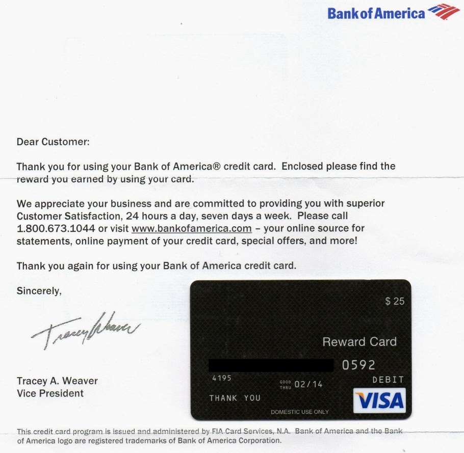 Credit Cards A Very Nice Thank You from Bank of America