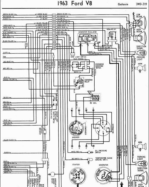 Wiring Schematic Diagram  1963 Ford Galaxie Lighting System