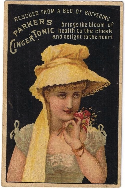 rescued from a bed of suffering advertisement for parker's ginger tonic