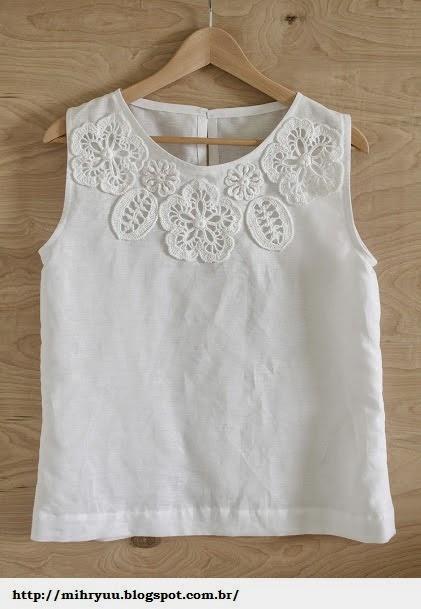 Famosos Crochê & Artesanatos: Aplicação de crochê em roupas EO05