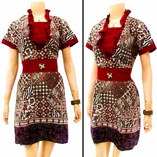 DB3229 Mode Baju Dress Batik Modern Terbaru 2013
