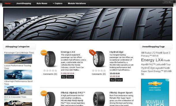 Free Auto Parts Shopping Cart Joomla Template