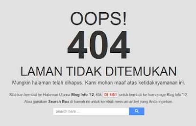 Info Blog, Error 404