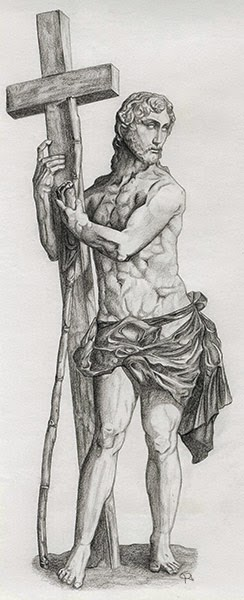 Rendered pencil drawing of Jesus Christ holding the cross while looking back onto something