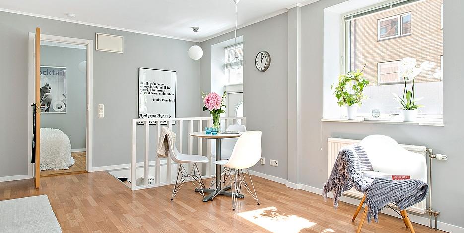 Decor me gris blanco y espacios bien aprovechados en 55 m2 for Salones pintados en gris