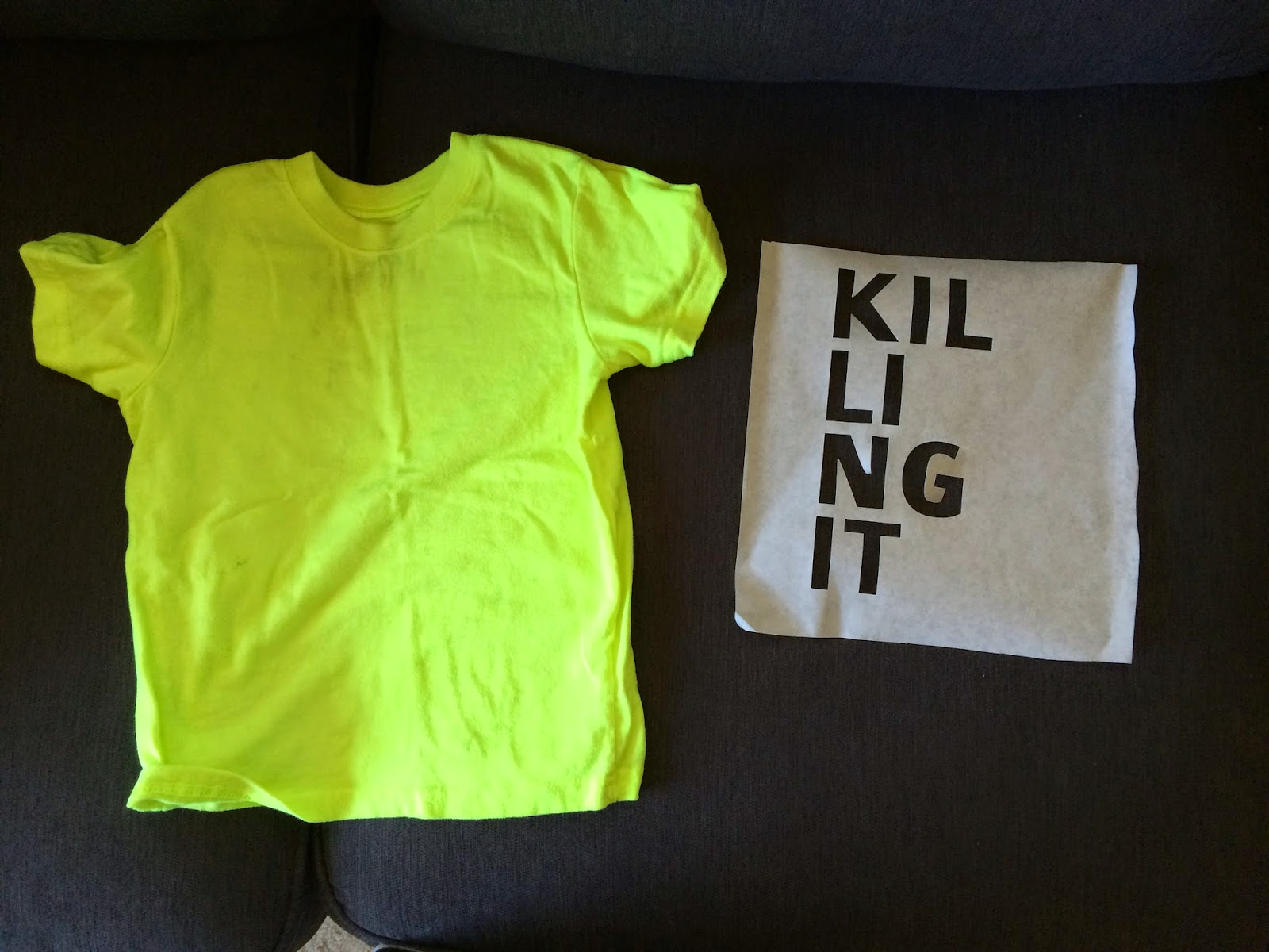 killing it stencil and neon shirt
