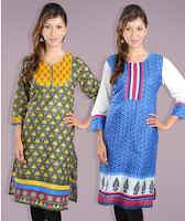 Askmebazaar : Kurtis Combo Of 2 at flat 56 % Off & Extra 299 Off:buytoearn