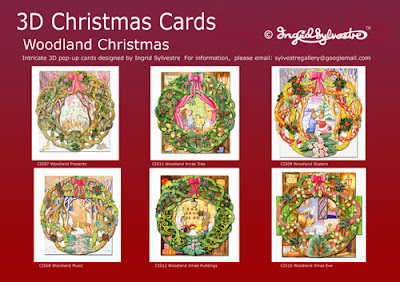 3D Pop up Christmas Cards by UK Artist Ingrid Sylvestre Woodland Christmas 6 Designs
