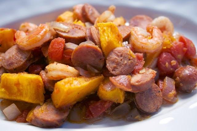 Cajun Pumpkin Stew: Andouille Sausage & Shrimp: simplelivingeating.com