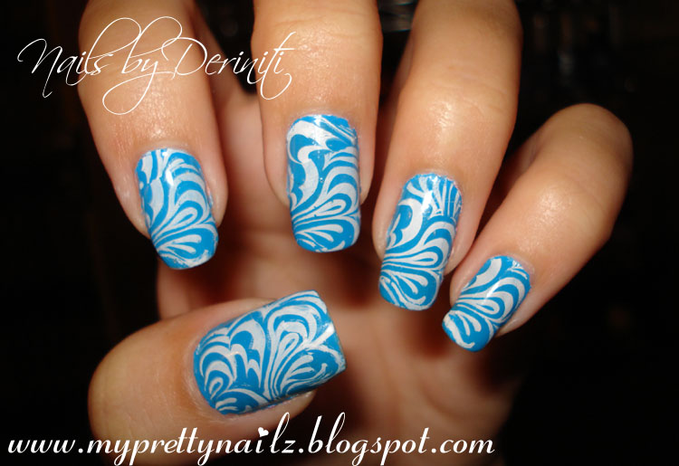 My Pretty Nailz: So Wavy Konad Nail Art Stamping Design - Blue and ...