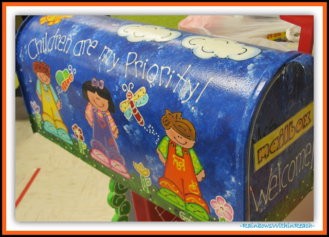 Classroom mailbox (Classroom Decor RoundUP at RainbowsWithinReach)