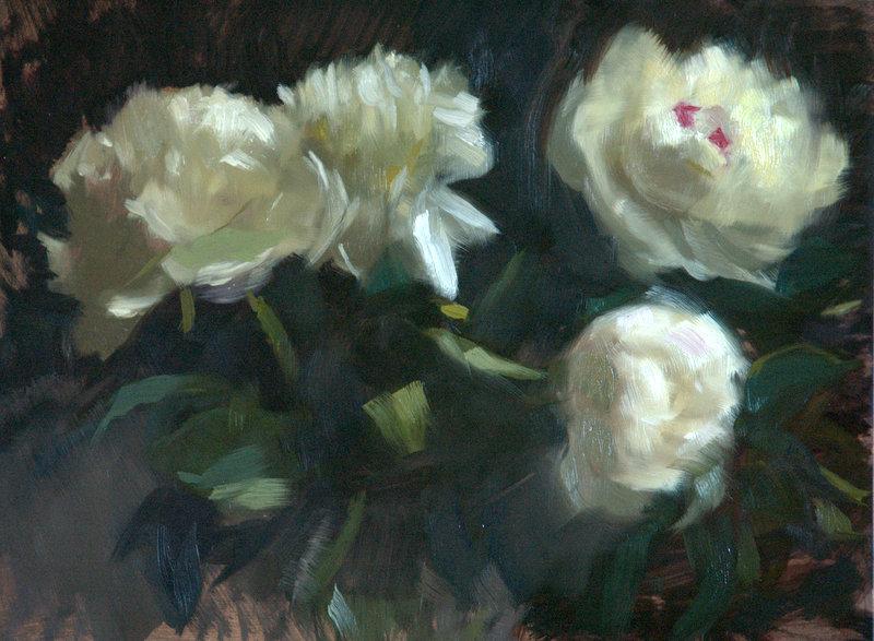 Painting: White Peonies   Studio Thibodeaux