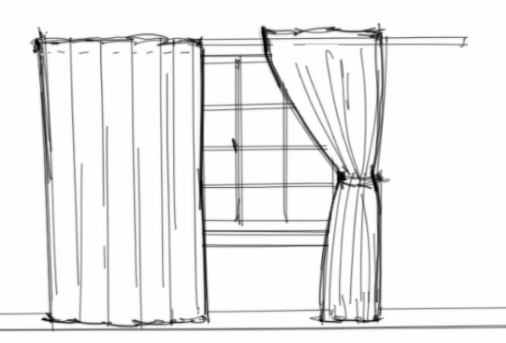Interior design rendering how to work with curtains in for Window design sketch