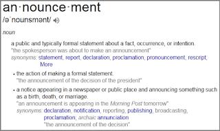 arti annoucement dalam bahasa Inggris