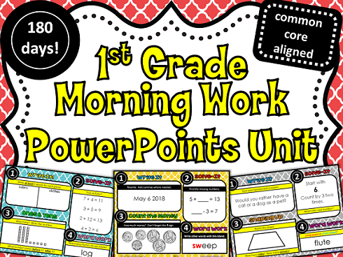http://www.teacherspayteachers.com/Product/1st-Grade-Morning-Work-PowerPoints-Unit-from-Teachers-Clubhouse-890017