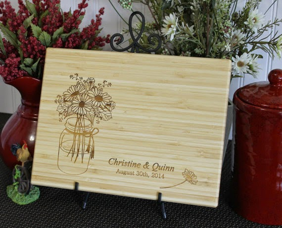 Personalized Mason Jar Cutting Board, Lasered Engraved, Wedding Present, Anniversary Gift, Bridal Shower Gift, Christmas Present