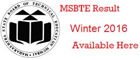 MSBTE Winter 2016 Result