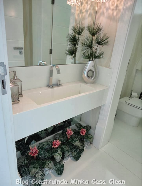 Construindo Minha Casa Clean Banheiros e Lavabos com Jardins de Inverno!!! Q -> Banheiro Decorado Com Planta Artificial
