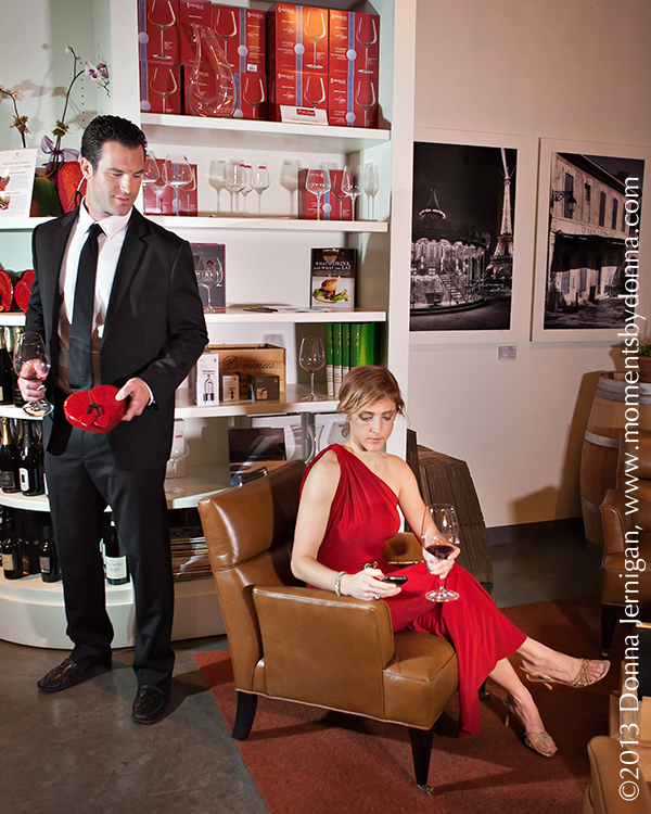 the Queen City Style, Nick Madrick, Petit Phillipe wine and chocolate, Valentine's Day, Lauren Ralph Lauren Dress from Belk, JJ Winters Clutch, Stuart Weitzman Shoes, Express Men's Suit, Guess watch, Floral by Monica, Moments by Donna, Donna Jernigan, Hair by Aurora, Make up by Perri Jones
