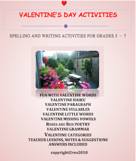 photo of Valentine's Day Activities, language arts activities, Grades 3 - 6 by Teacher Park,