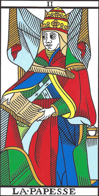 image of La Papesse or Female Pope card from Marseilles Tarot deck