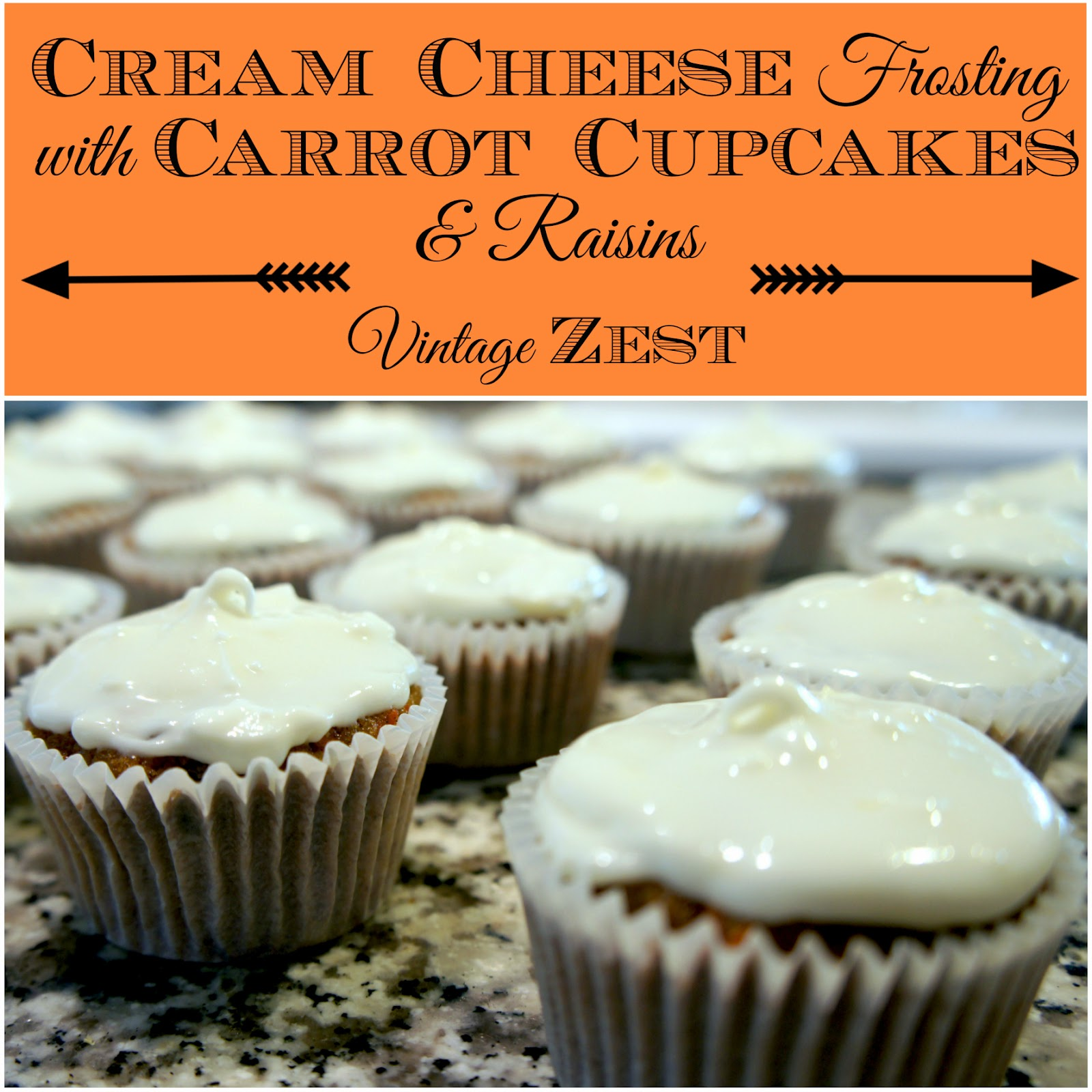 Cream Cheese Frosting with Carrot Cupcakes and Raisins