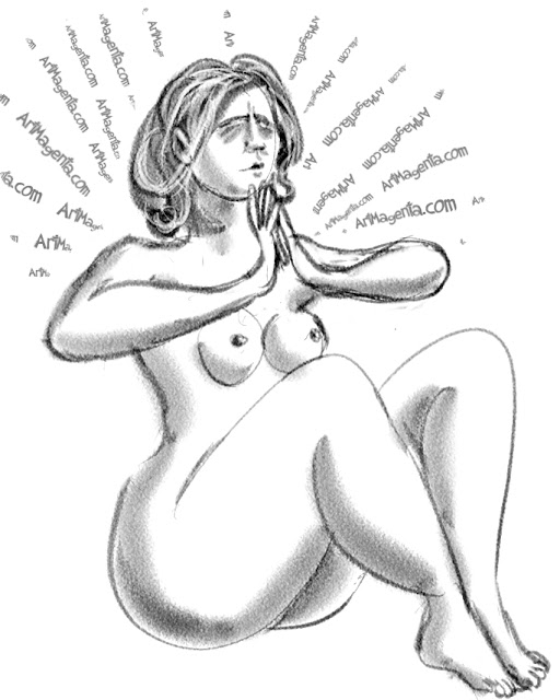 Meditating is a life drawing by Artmagenta