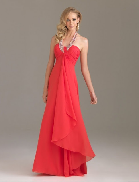 Chiffon Beaded Halter Strap Empire Prom Dress with Cascading Ruffle Skirt