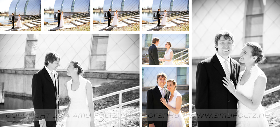 photos of a bride and groom during their first look at White Chapel at Rose-Hulman Institute of Technology in Terre Haute, IN