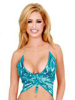 Turquoise Holographic Sequin Butterfly Top
