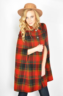 Vintage red plaid wool military style cape.