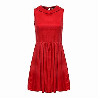 kolsuz bebe yaka elbise , kırmızı renk, pileli