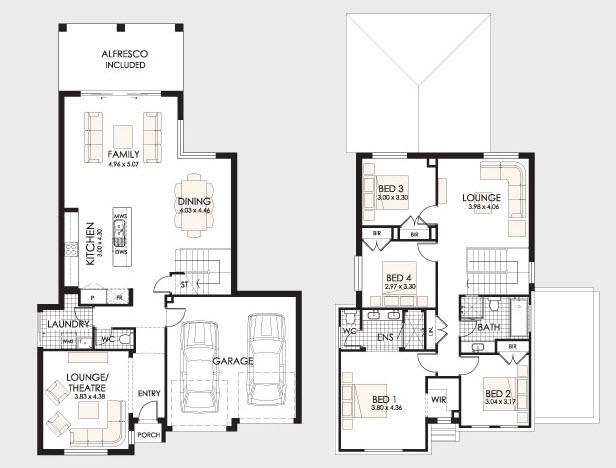 Plantas de casas de 2 pisos for Plantas arquitectonicas de casas