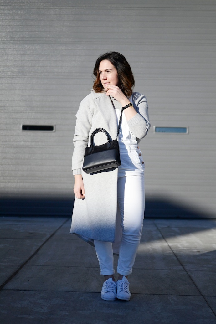Gap cashmere sweater, white overalls, grey wool coat, Adidas superstars Vancouver fashion blogger