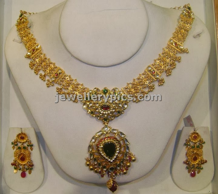 kundan short length necklace set srimahalaxmi jewellers