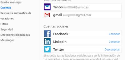 Configuracion redes sociales en tu correo