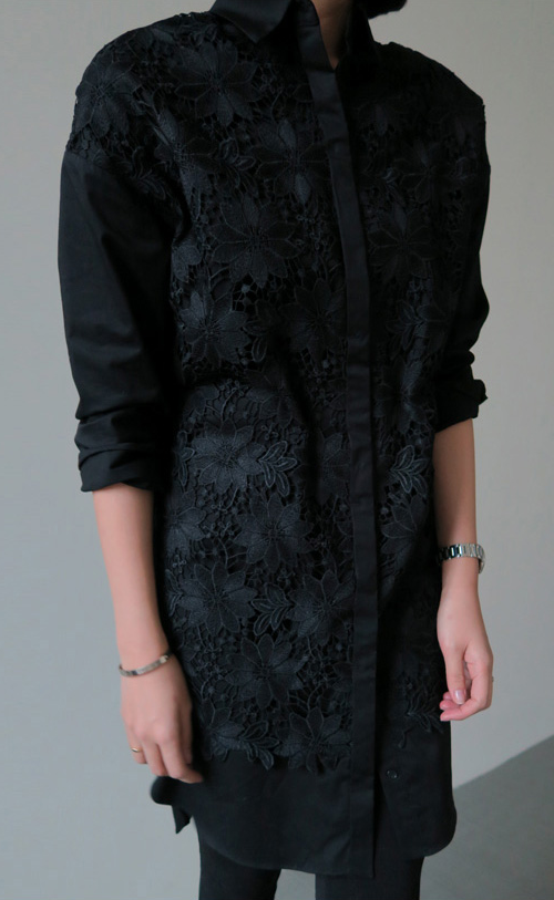 Floral Lace Overlay Shirt Dress