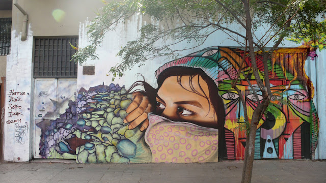 graffiti street art by izak, henruz, sotho and raiz in santiago de chile