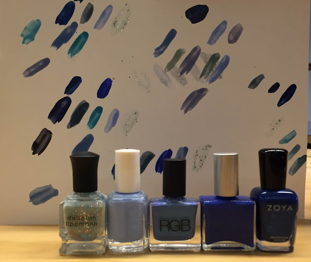 nail art, Hanukkah nail art, Chanukah, Hannukah, nails, nail polish, nail lacquer, nail varnish, manicure, ombre manicure, Deborah Lippmann Glitter In The Air, Essie Bikini So Teeny, RGB Cerulean, Rescue Beauty Lounge All About Yves, Zoya Song