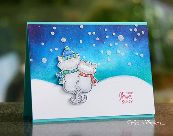 Deck the Halls with Inky Paws - Day 4 - Virginia Lu | Kitty Snow Card | Newton's Christmas Cuddles Stamp set by Newton's Nook Designs #newtonsnook