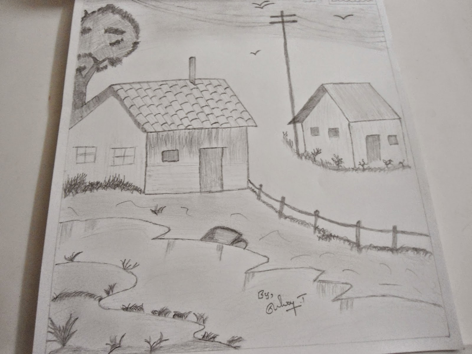 Landscape Pencil Drawing And Natural Pencil Sketching Mypencil