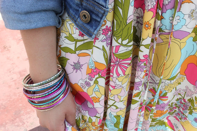 Bangles and Floral Print Dress