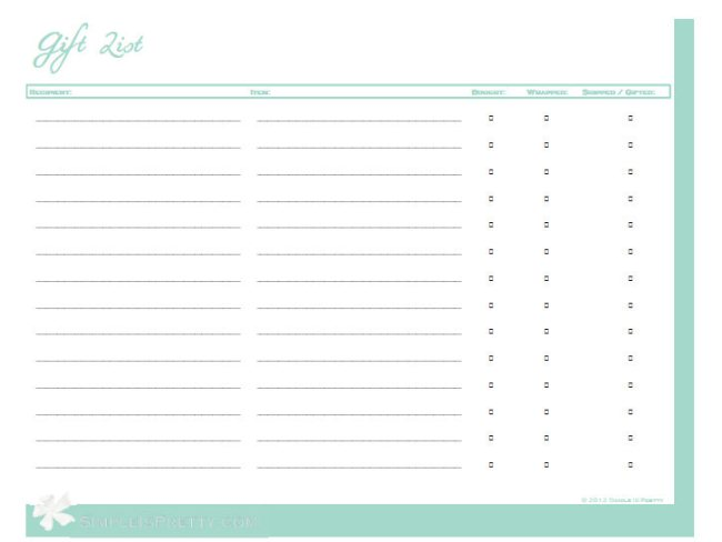 Wedding Gift List Printable : Simple is Pretty: Free Printables