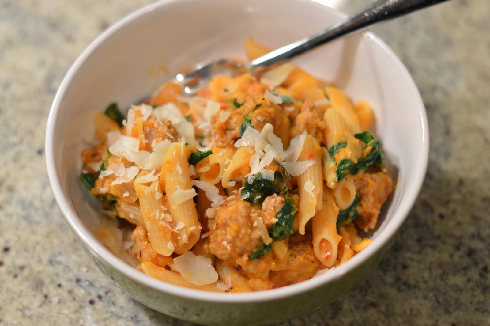 ... With My Food!: Butternut Squash, Italian Sausage, and Spinach Pasta