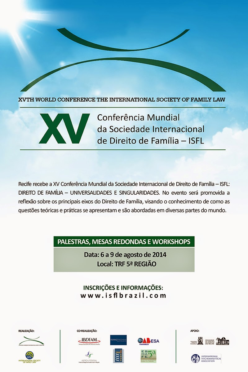 Conferência mundial da International Society of Family Law - ISFL no Recife, em agosto
