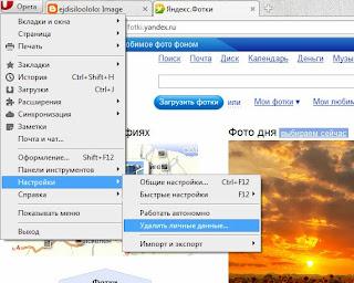Удаление личных данных в браузере Opera