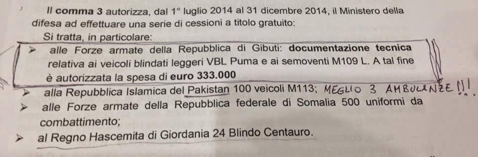 l'Italia regala decine di milioni di euro di armi ai paesi musulmani