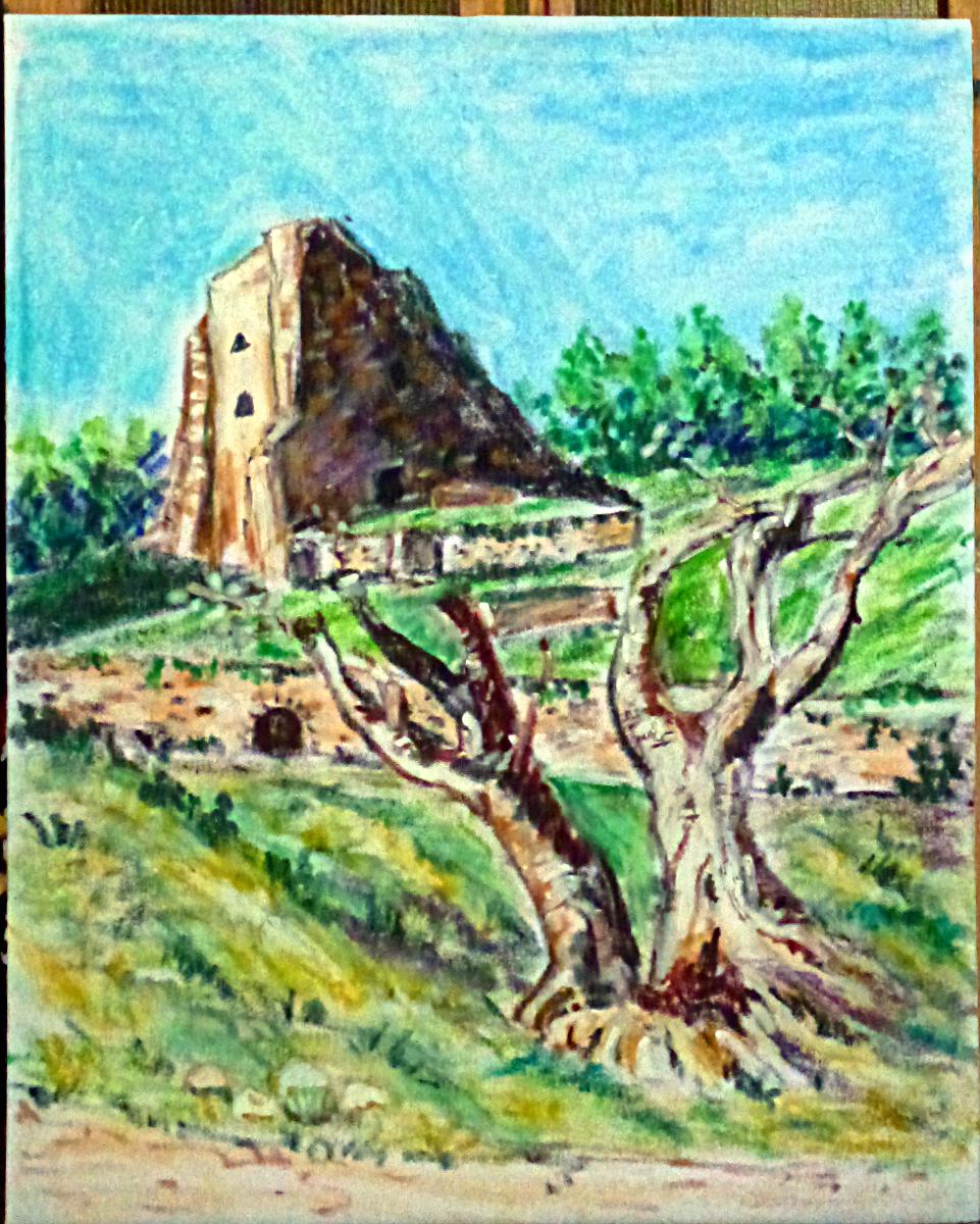 Art de vivre la peinture de peintrefiguratif dessin pastel gras paysage du ch teau de grimaud for Peinture pastel gras