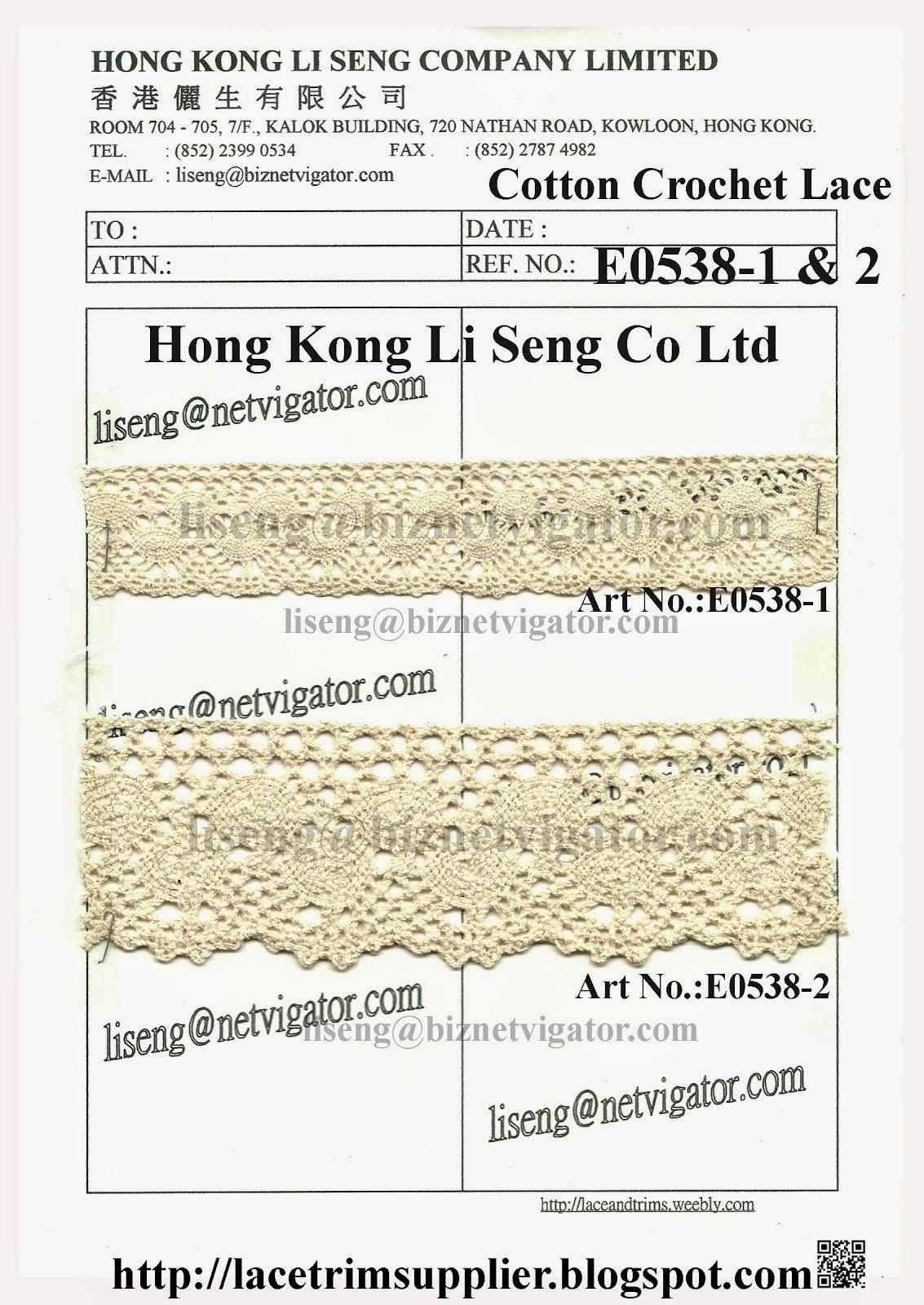 Cotton Crochet Lace Trims Factory - Hong Kong Li Seng Co Ltd
