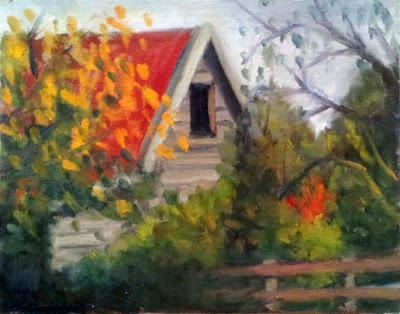 Oil painting of a high-gabled shed with a red roof, surrounded by trees with autumn leaves.